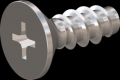 screw for plastic: Screw STS-plus KN6033 2.2x6 - H1 stainless-steel, A2 - 1.4567 Bright-pickled and passivated