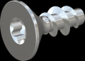 screw for plastic: Screw STS KN1041 8x20 - T40 steel, hardened 10.9 zinc-plated 5-7 ?m, baked, blue / transparent passivated